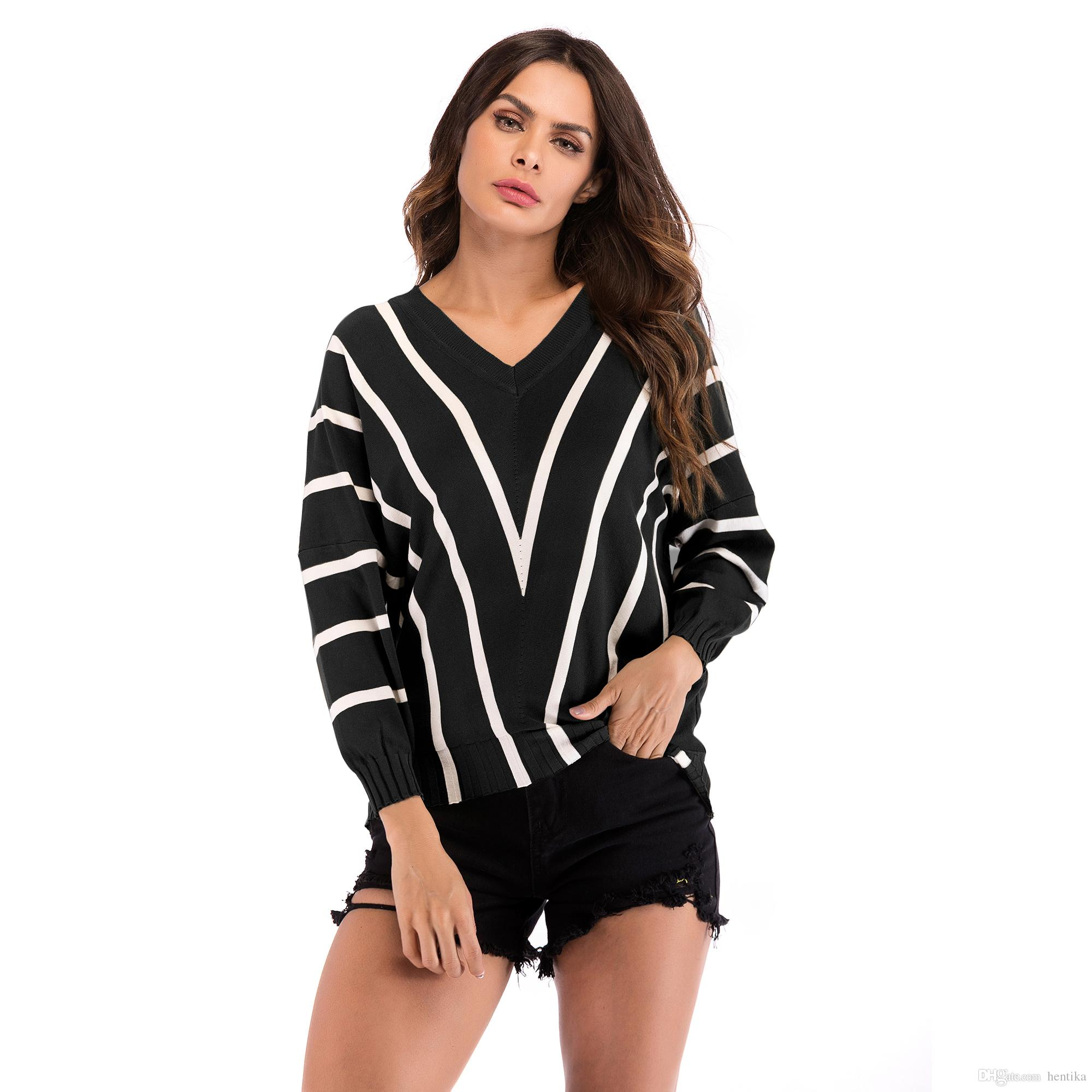 5f023343099b6d 2019 Striped Knitted Clothing V Neck Full Sleeve Batwing Sleeve Short Tops  M XL Loose Women Casual Pullover From Hentika, $19.34 | DHgate.Com