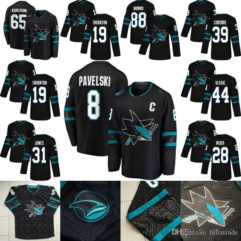 2019 Joe Pavelski San Jose Sharks 2018 Third 3rd Alternate Erik Karlsson  Evander Kane Brent Burns Joe Thornton Logan Couture Vlasic Hockey Jersey  From ... f47b009dc