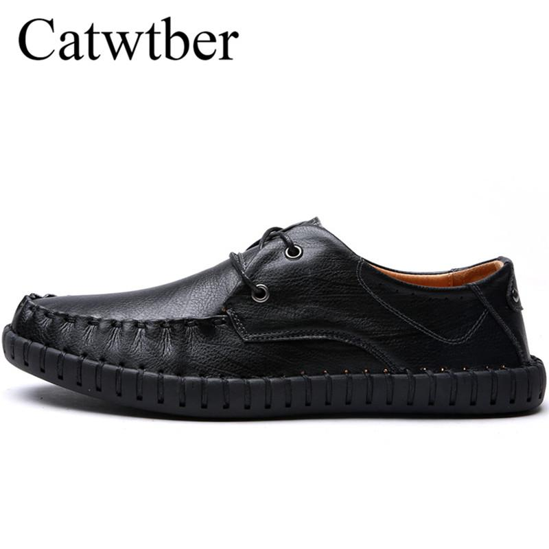 Catwtber Leather Luxury Men Casual Shoes Handmade Leisure Black Brown Men Flats Fashion Autumn Style Soft Moccasins Men Loafers