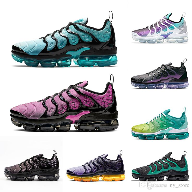 Nike air vapormax plus tn shoes Megatron Bumblebee TN Plus Men Running Shoes GRAPE Hyper Blue Rainbow Game Royal Mens women Black Green Volt sports sneakers 36-45