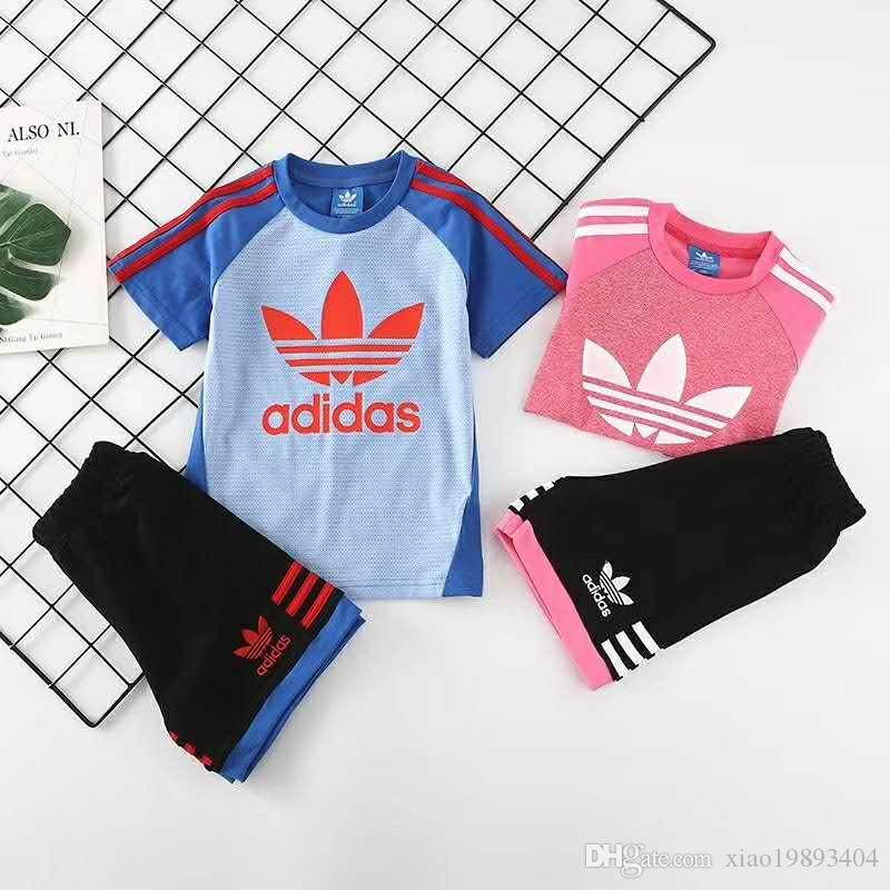 21e5934a48 wholesale AD brand kids suits 2019 new Summer Family Matching Outfits Boys  girls T-Shirt shorts Childrens Clothing Sets High qualit