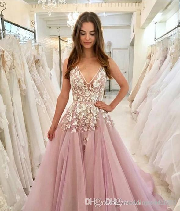 Beautiful V-Neck Long Prom Dresses Juniors Floral Lace Sleeveless Pink 2020 Evening Formal Girl Wear Gowns Vestido de fiesta Cheap Party