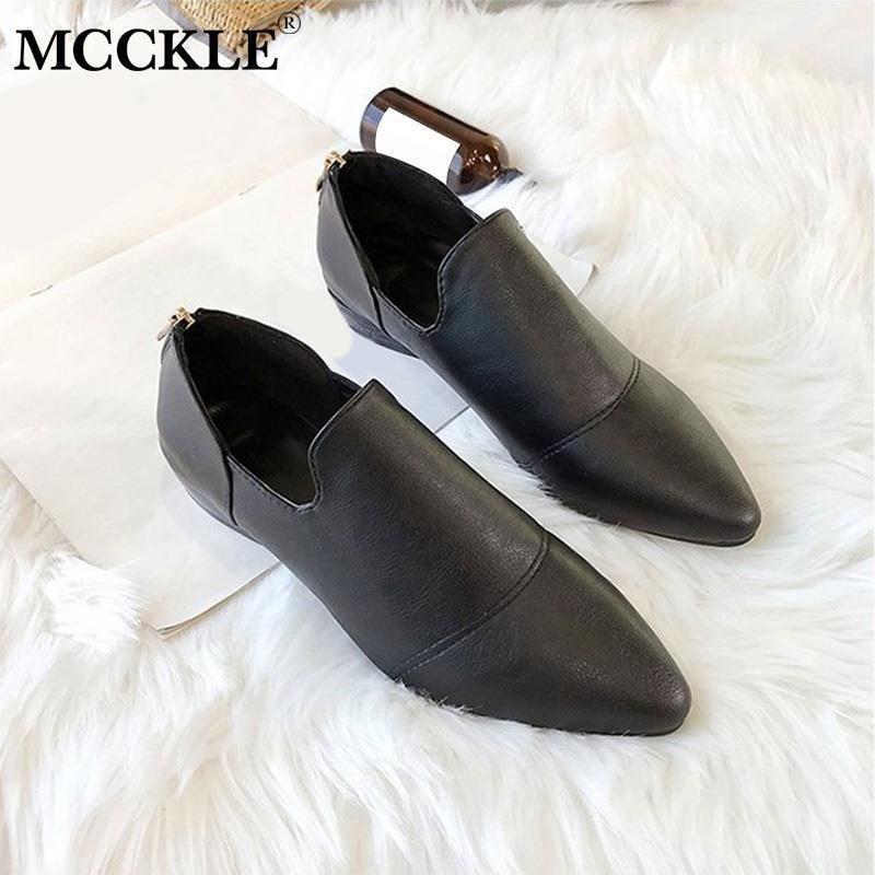 nueva estilos 19243 4858c Zapatos de vestir para mujer Mocasines de cuero suave Tacones bajos Mujer  Slip On Casual Punta estrecha Clásico Sólido Damas Calzado Calzado ...