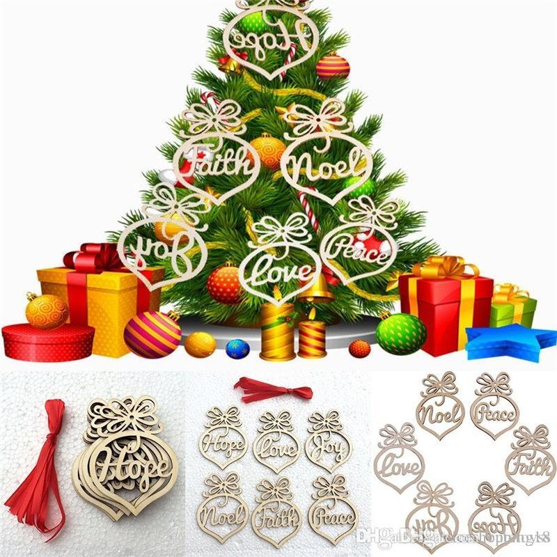 Natural Christmas Tree Decorations.6pcs Set Hollow Letters Natural Wood Christmas Ornaments Hanging Christmas Tree Decorations 248