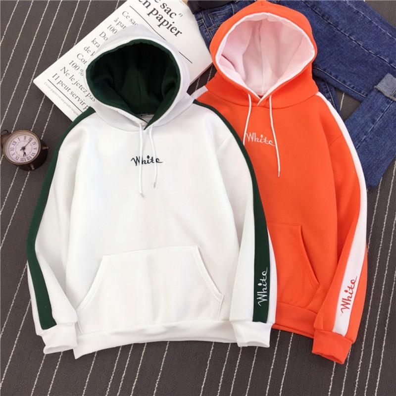Stylish Patchwork Women Hoodies 2018 Autumn Winter Cute Constract Candy  Color Letter Print Drawstring Pocket Sweatshirts M-XXL