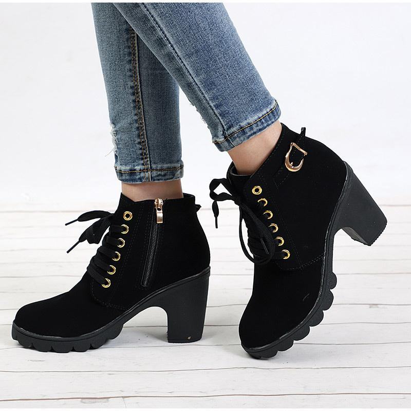 054d30ea9b Women Ankle Boots Autumn Winter Buckle Zip Lace Up Short Ladies Fashion Platform  Shoes Female Chunky High Heels High Heel Boots White Boots From Jerry10, ...