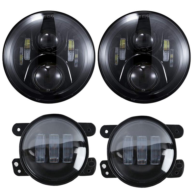 2019 7 LED Headlights Black Daymaker Projector 4 Fog Lights Assembly W H4 To 9007 9008 Adaptors For Jeep Wrangler 1997 2018 J From Suozhi1990