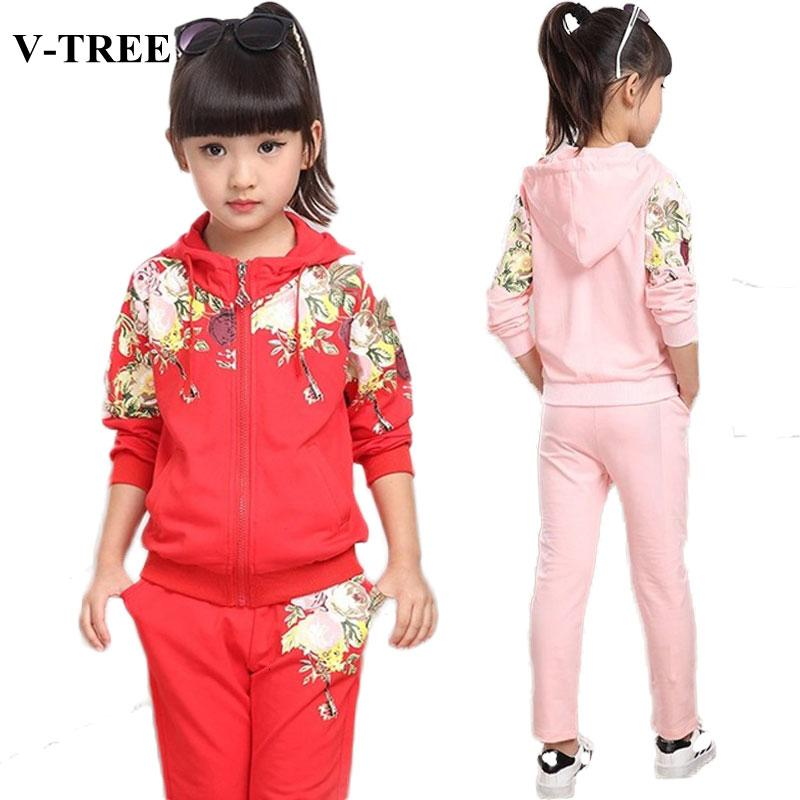 V-TREE Girls Clothing Set 2019 Autumn Floral Clothes Set For Girl Children Sport Suit Kids tracksuit Teenage 10 12 YearsMX190916