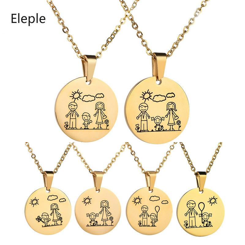 Eleple Lovely Steel Steel Family Collares para Mamá Papá Hijo Hija Cartoon Clavicle Chain Gift Jewelry N770-775 Al Por Mayor
