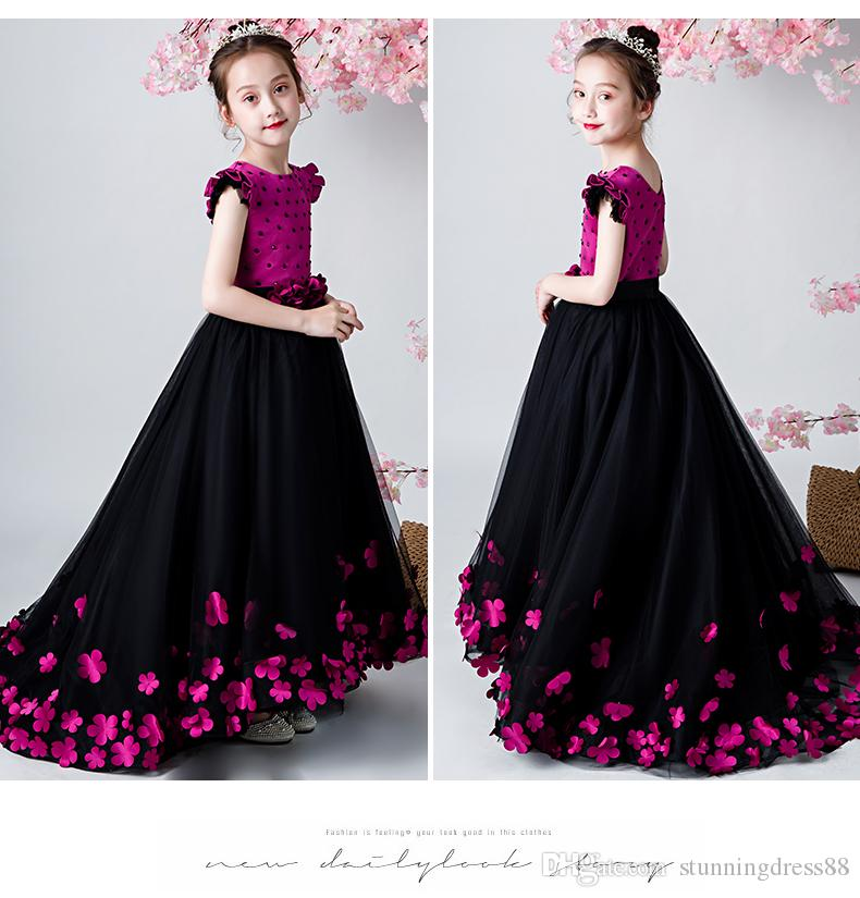 2020 Black/Hot Pink 3D Floral Flower Girls Dresses For Wedding Party A line Tulle Beaded Handmade Flowers Cheap First Communion Dress