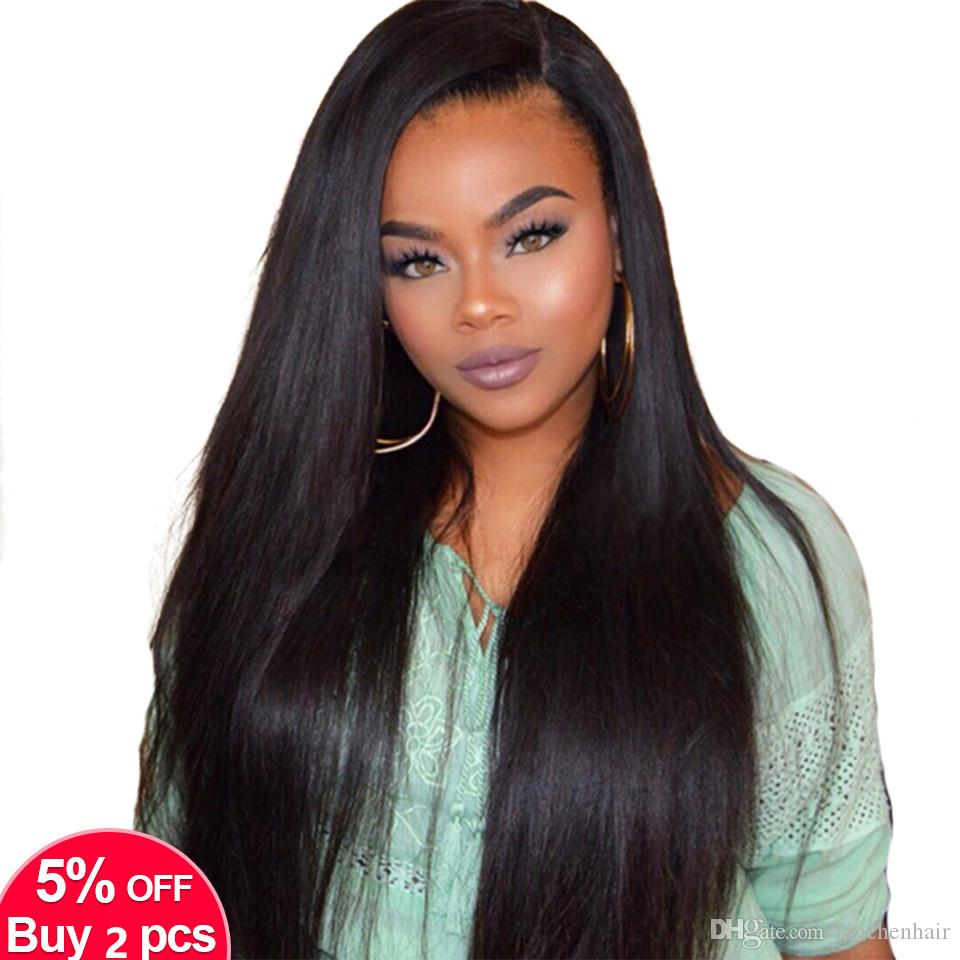 9A Brazilian Virgin Hair Lace Front Human Hair Wigs For Black Women Pre Plucked Brazilian Ramy Straight Lace Front Wig