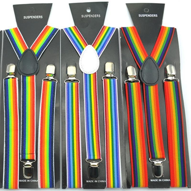 Fashion Colorful Suspenders 2.5*100CM Elastic Y-back Rainbow Suspenders Adjustable Hallowmas braces for Adult Clip-on Christmas gift