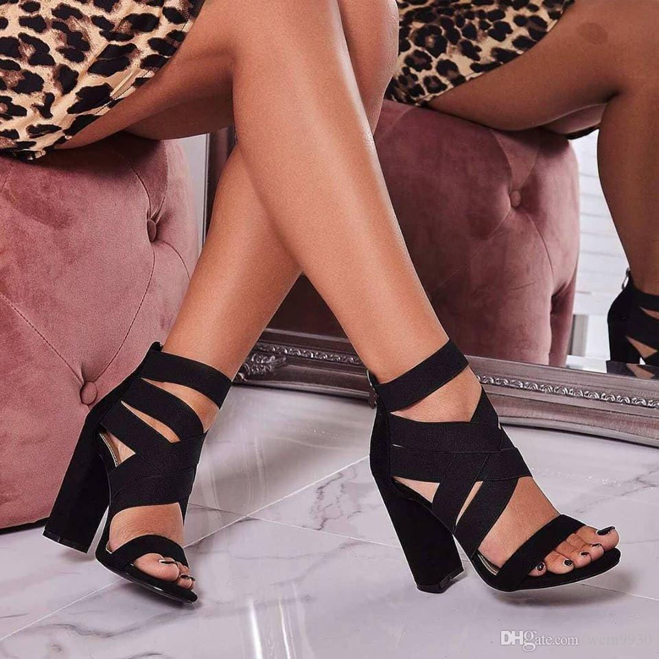 d45e1e10780 2019 Gladiator Sandals Fashion Women Sandals High Heels Open Toe Ankle  Strap Elastic Band Shoes Size 35 40 Pumps Black Wedding Sandals Walking  Sandals From ...
