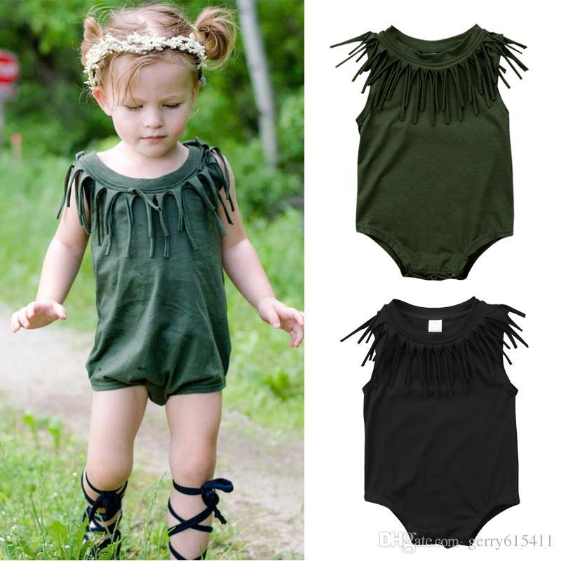 Baby Girl Boy Toddler Romper Tassel Sleeveless Romper Cotton Clothes ... 4cd4880e9c