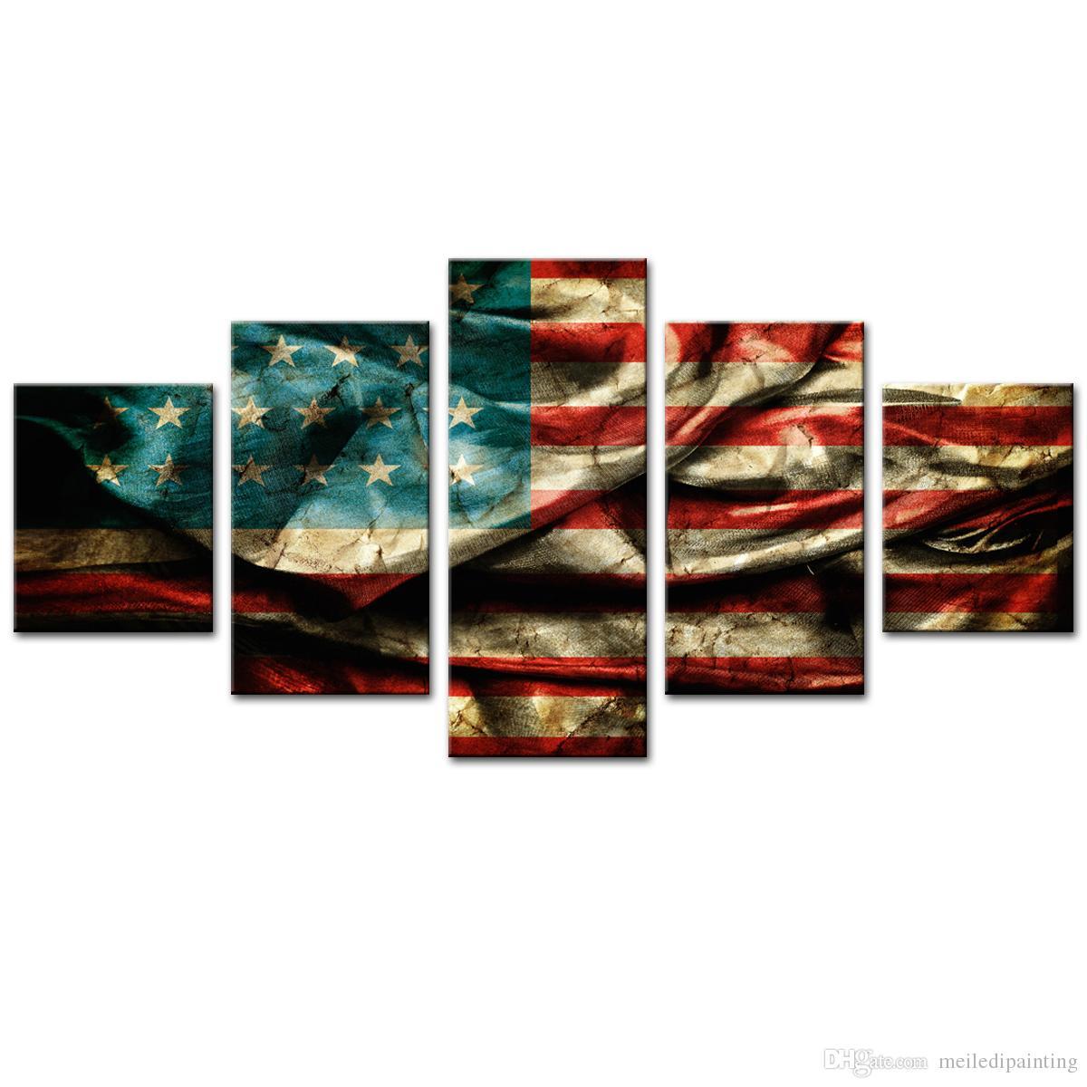 Satın Al Büyük 5 Panles Tuval Baskılar Duvar Sanatı Amerikan Bayrağı