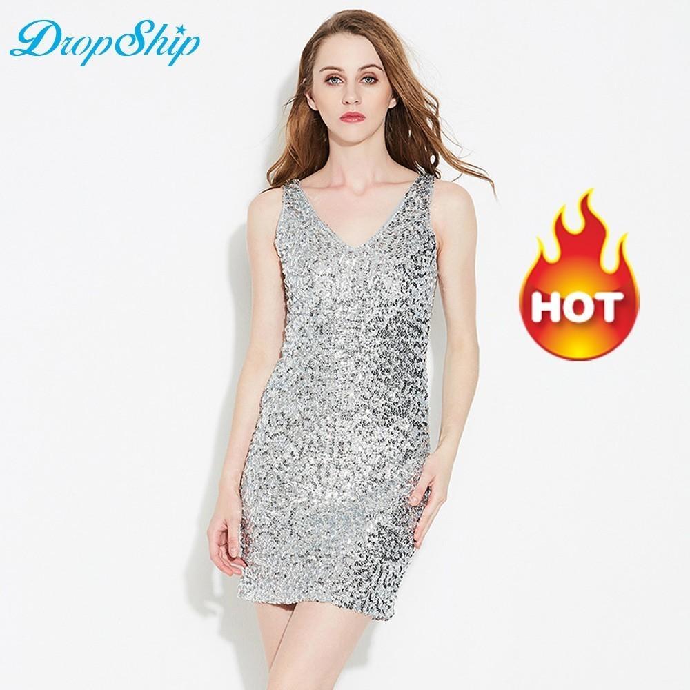 Dropship Sequin Sexy Dress Women Party Summer Bodycon Vestido Lentejuelas  Dresses Vestidos Verano 2019 Red Mini Robe Femme Modis Summer Cocktail  Dresses ... f58906ebd7cd