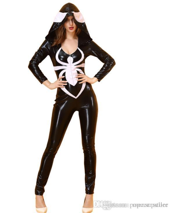 Halloween Cosplay Spider Suits Women Black Fake Leather Bodysuit Sexy Sheath Costume