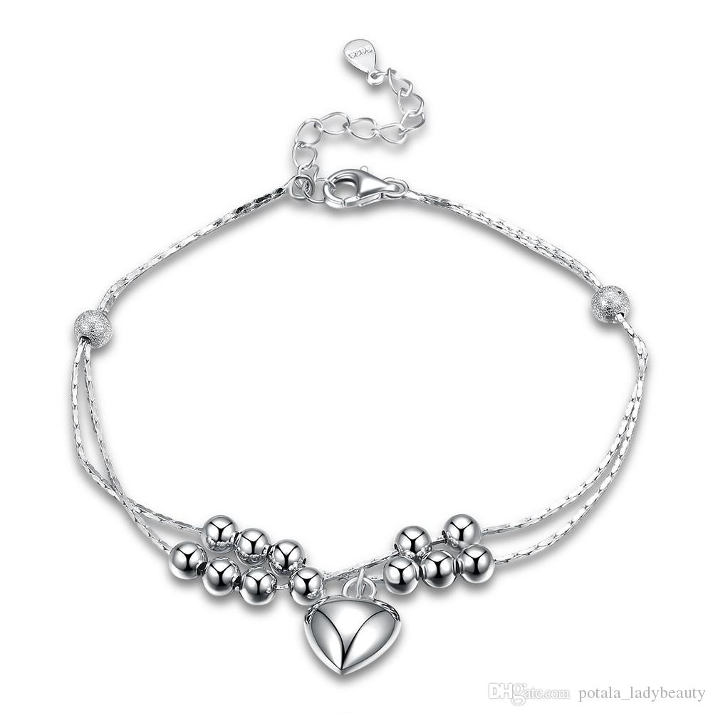 Precious Metal Without Stones Fine Bracelets Gorgeous Bracelet In 925 Silver Jewelry Rhodium-plated Heart Gift Ladies