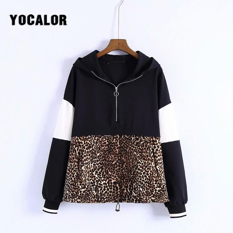 2019 New Fall Autumn Jacket Coat Female Women Leopard Spliced Sweatshirt Women Tracksuits Hoodies Outfiits Clothes Ceket Za Hood Y190830