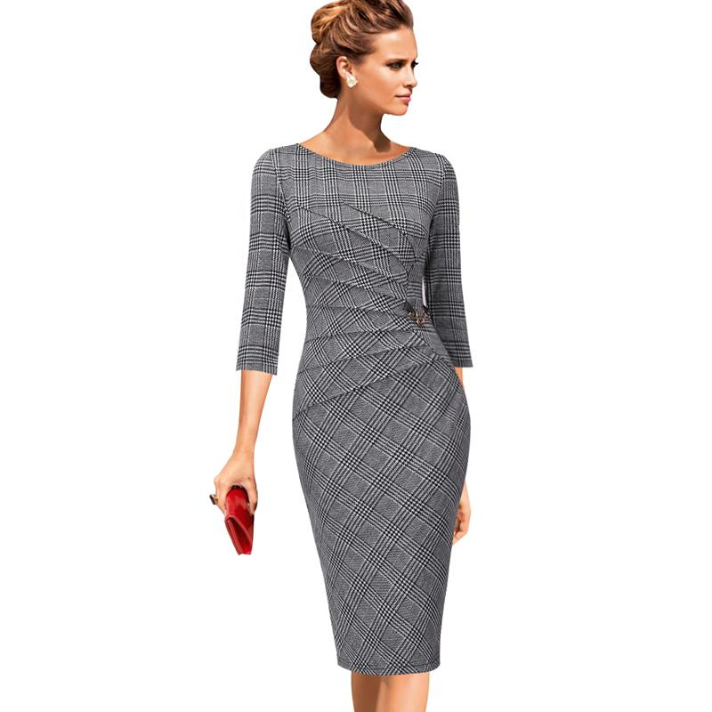 fa44d4382ce9 2019 Vfemage Womens Celebrity Elegant Vintage Ruched Pinup Wear To Work  Office Business Casual Party Fitted Bodycon Pencil Dress 1041 Y19012102  From ...