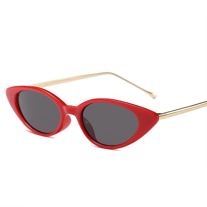 537b9a8d3e Compre Mujeres Ojo De Gato Gafas De Sol Marco De Metal Gafas Rojas  Diseñador De La Marca Señoras Oval Gafas De Sol Retro Espejo Sombras  Hombres Goggle UV400 ...