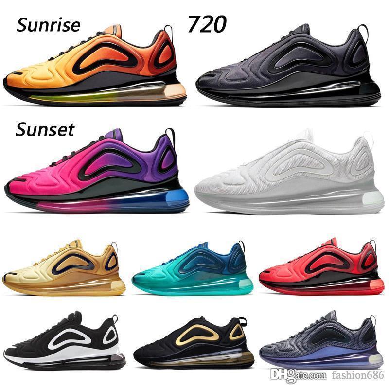 nike air max 720 Zapatos casuales Hombres Mujeres 2019 Calidad superior Negro Blanco Desierto Rosa Mar Zapatos deportivos Zapatillas de deporte de