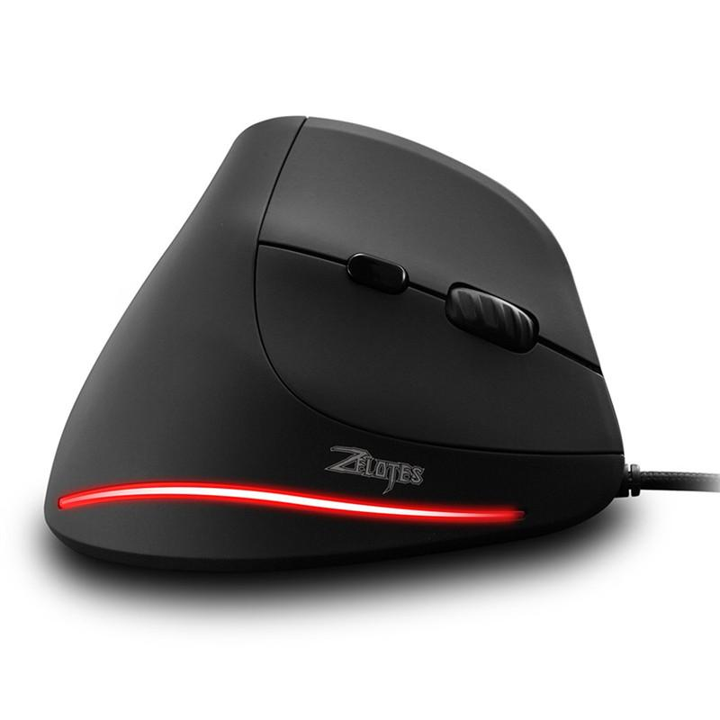 Zelotes T-20 Vertical Wired Game gaming mouse wireless mouse for Desktop 6 Buttons LED Mice 3200 DPI Dec24
