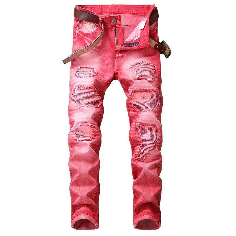 Manera ocasional Hole Jeans de hombres de Hip Hop del motorista Jeans Tamaño regular Straigh Jeans Red Plus 29-42