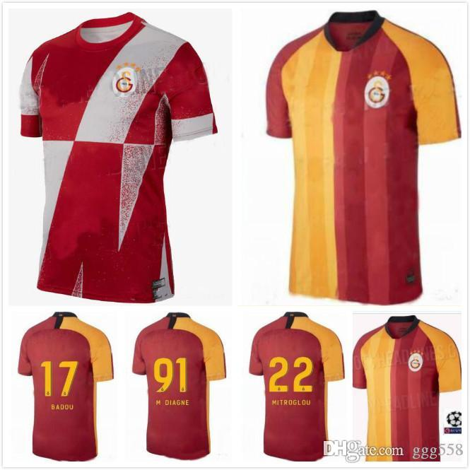 new product 7c278 dc261 Free shipping 19 20 Galatasaray socce jerseys 2019 2020 Home CIGERCI  BELHANDA FERNANDO FEGHOULI GOMIS SINAN Football Shirt custom
