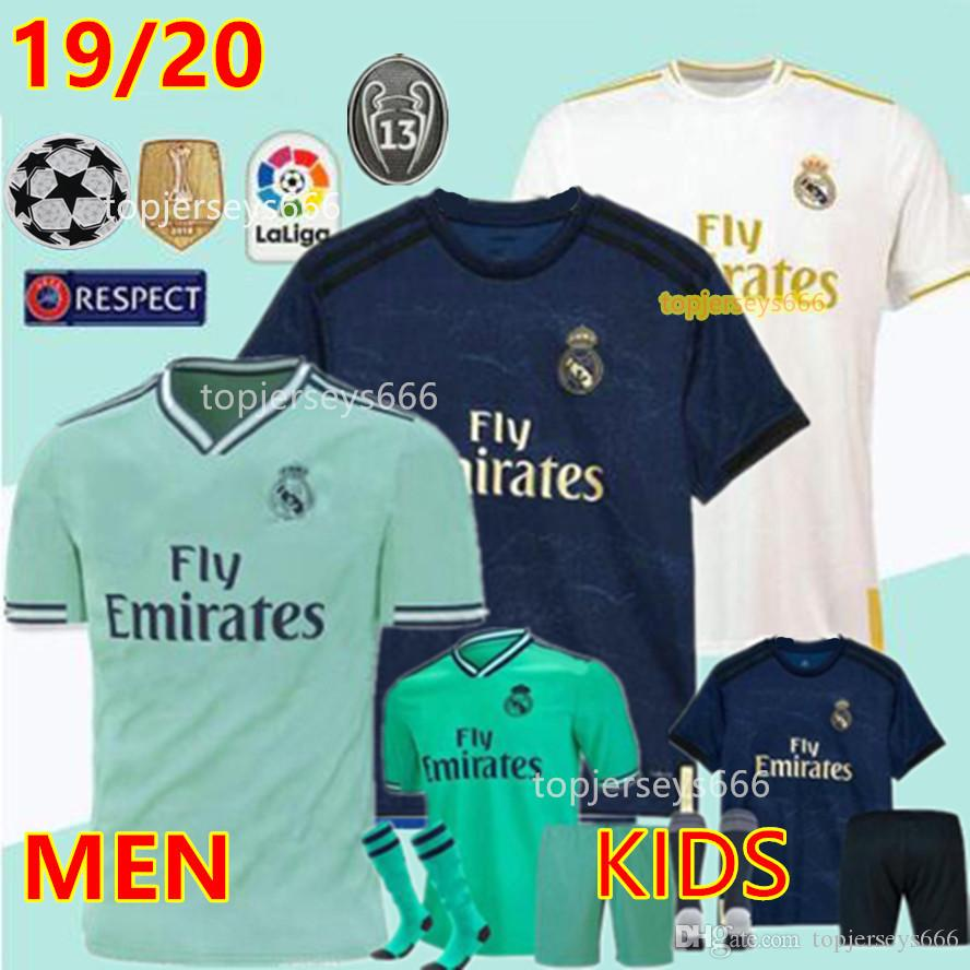 cd8c1b74a 2019 New 2019 2020 Real Madrid Soccer Jerseys 19 20 BENZEMA MODRIC MARCELO  KROOS ISCO Men Jersey And Kids Kit Set Socks Football Shirts From  Topjerseys666