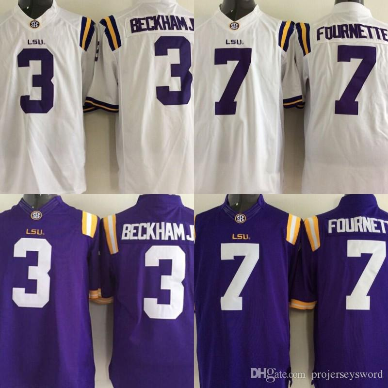 new concept eef37 63b84 Mens LSU Tigers NCAA Jersey 3 Odell Beckham Jr. 7 Leonard Fournette College  Football Jerseys Cheap Purple White Fast Shipping