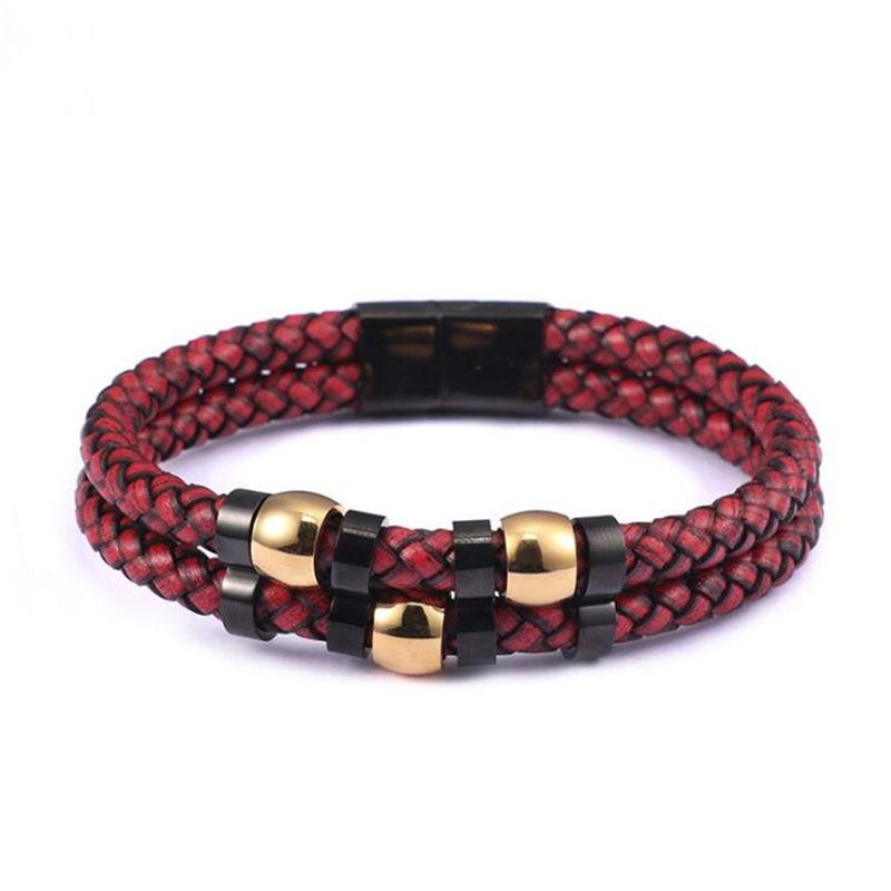 d2d9bea0f New Design Multi-layers Handmade Braided Genuine Leather Bracelet & Bangle  For Men Stainless Steel Magnetic Clasp Fashion Bangle ID Bracelets Cheap ID  ...