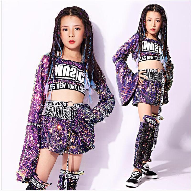 Compre Niño Con Lentejuelas Hip Hop Ropa Sudadera Tops Pantalones Chicas  Purple Jazz Trajes De Baile Salón Ropa De Baile Ropa De Calle Traje A   91.77 Del ... ecc39321321