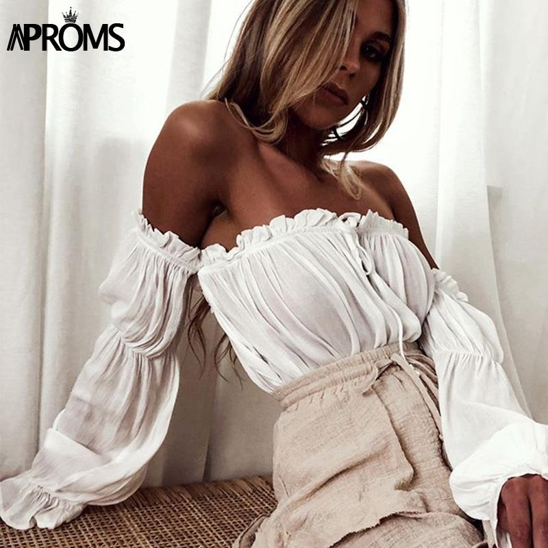 3b703c59eb151 2019 Aproms White Off Shoulder Cotton Tank Tops Sexy Flare Sleeve ...