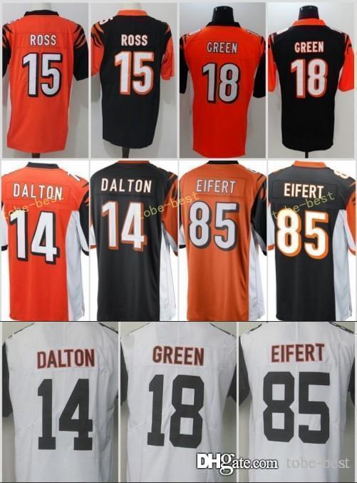 premium selection 610f9 07e98 Cincinnati Men Bengals Jersey Cheap #18 A.J. Green 14 Andy Dalton 15 John  Ross 85 Tyler Eifert stitched jerseys Free Shipping