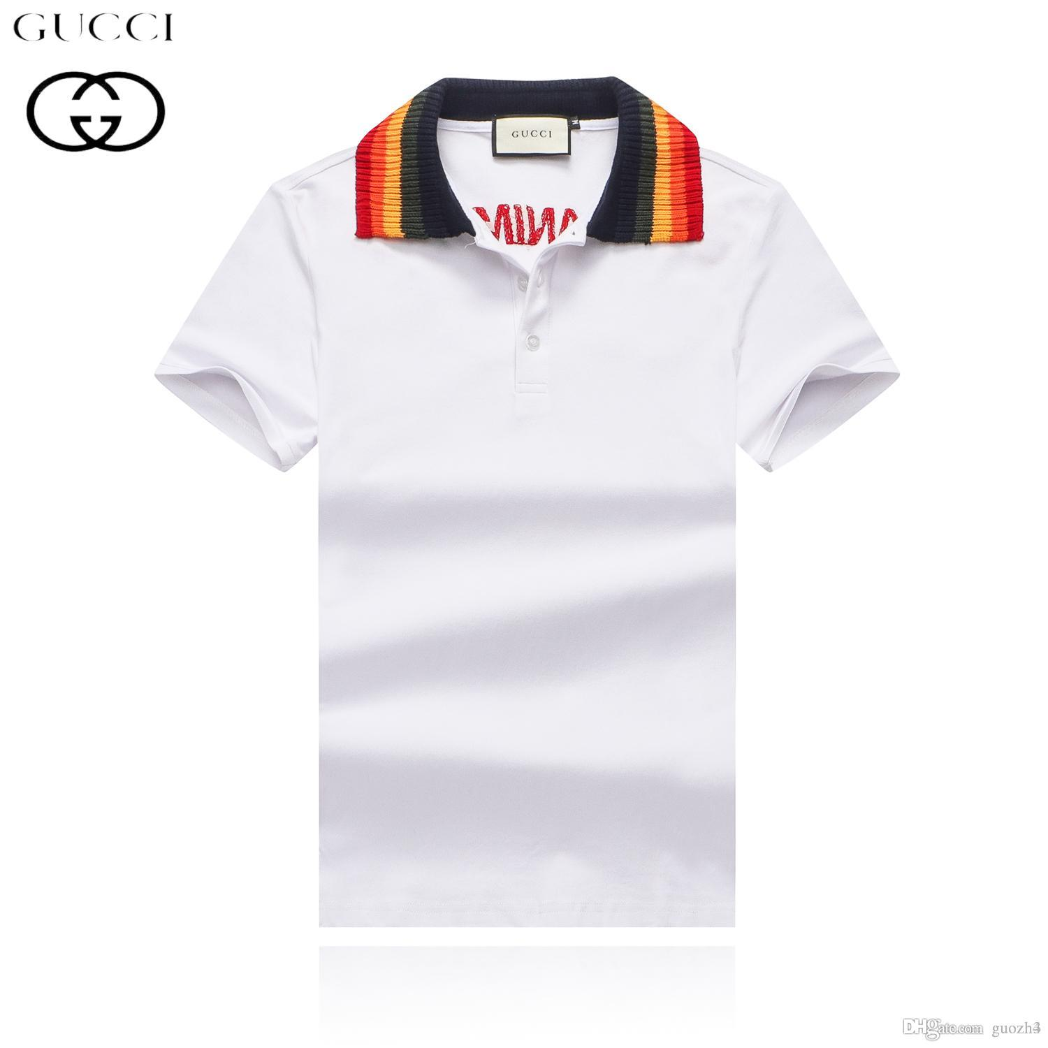 a10d10bef92 2019 18ss New Brand Luxury Embroidery T Shirts For Men Italy Fashion Polos  High Street Snake Little Bee Tiger Print Mens Desginer Polo Shirt From  Guozh4