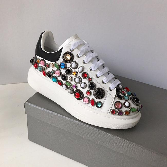 Deluxe Quality Designer spring new styles personality water drill small white shoes thick bottom round head leisure sneakers size:35-40 3A
