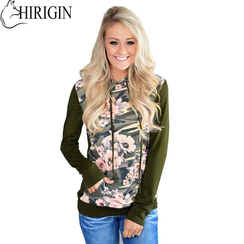 HIRIGIN Autumn Women Winter Warm Patchwork Casual Camo Camouflage Hoodie Jacket Long Sleeve Casual Sweatshirt Outwear New