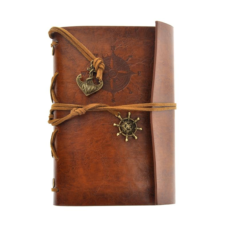 2018 Rétro Vintage Pirate PU Couverture Loose-Leaf String Bound Livre Blanc Bloc-Notes Journal De Voyage Journal Journal Jotter Cadeau