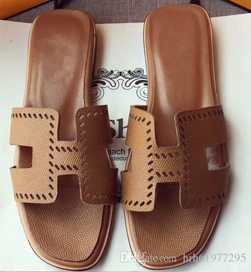 529e3377261e9 With box Dust Bag Women s leather Flat sandal slippers Flip Flops Designer  Sandals Brown leather sandal 35-41