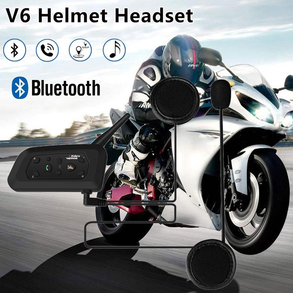 V6 Intercom Helmet Bluetooth Headset MP3 850mAh Motorcycle Comunicador  Interphone System Stable Headphone Speaker for 5 Riders