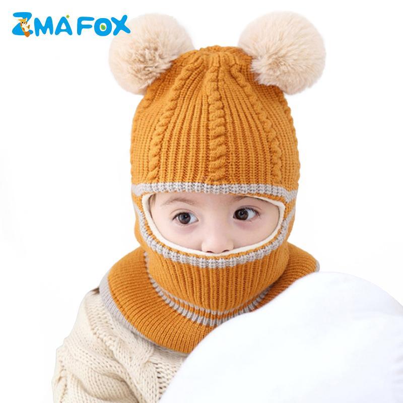 093202da39b 2019 ZMAFOX Baby Winter Masked Hood Hat Kids Balaclava Cap Velvet Knitted Beanie  Hats Children Spring Hooded Caps Fur Pompoms Scarf From Curd