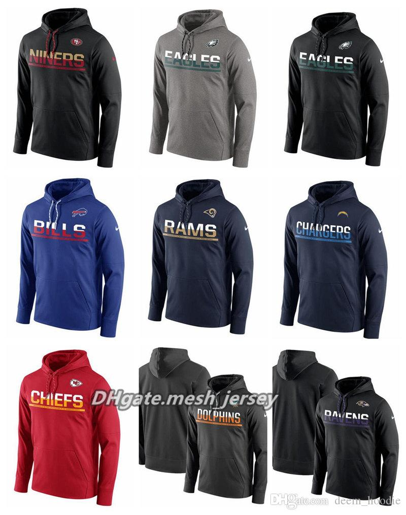 048973d2 Men Women Youth 49ers Eagles Dolphins Rams Chargers Chiefs Bills Ravens  Side line Circuit Pullover Performance Hoodie