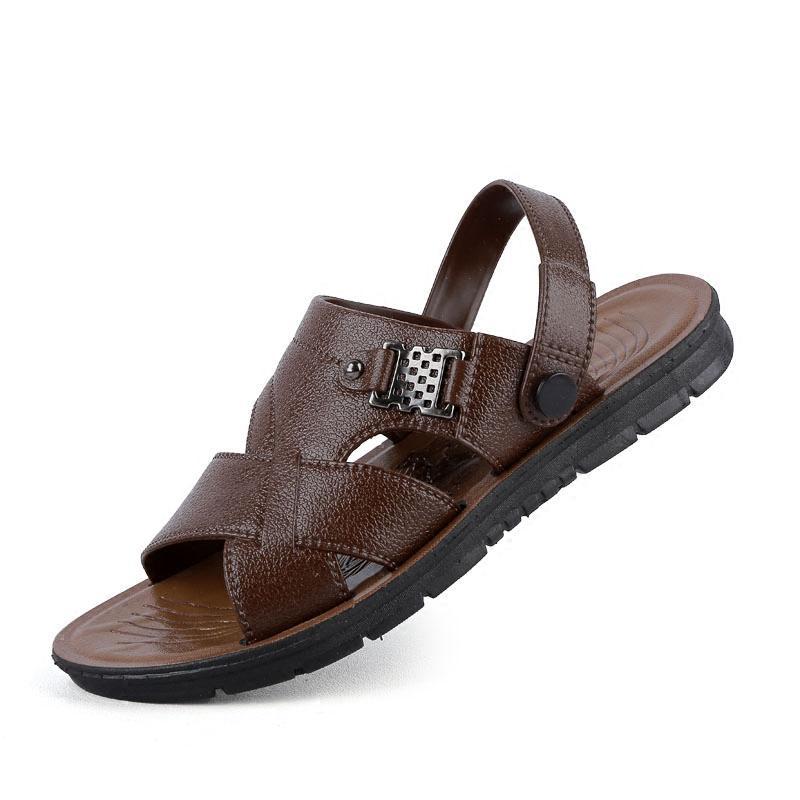 d74253e75df Fashion Men Solid PU Leather Sandals Male Breathable Flat Beach Shoes Casual  Peep Toe Flat Shoes Metal Decoration Slippers Z158 Bridesmaid Shoes Pumps  Shoes ...