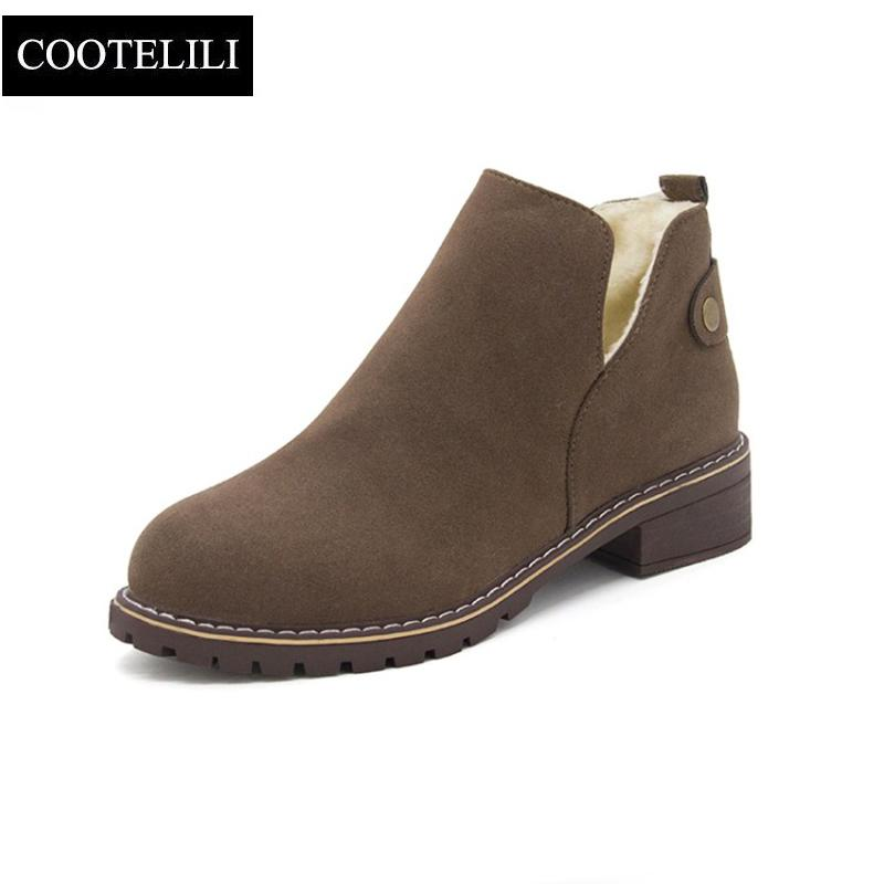 6a8bf90f8e6 COOTELILI Winter Warm Ankle Boots For Women Suede Leather Fleece Shoes  Woman Female Snow Boots 3.5cm Heel Flat Shoes 35-40