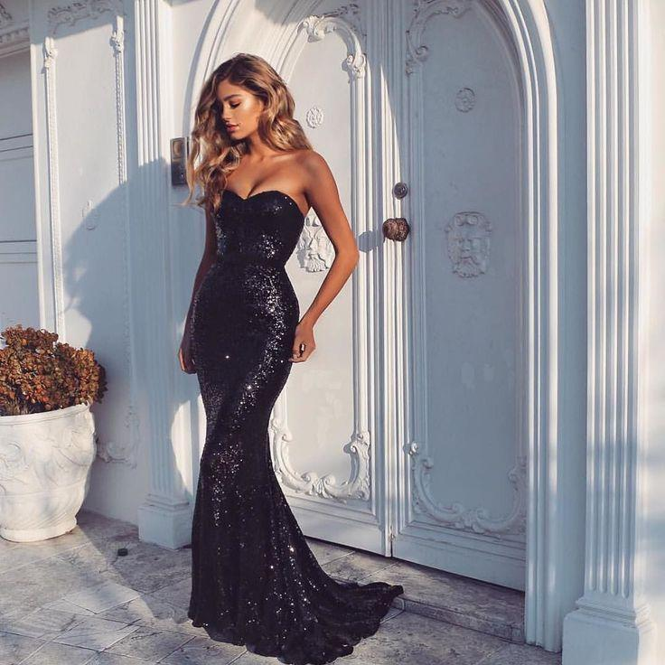 e9470f2b0 Bling Black Mermaid Evening Dresses 2019 Sexy Sweetherart Sequined Long  Court Train Runway Ombre Prom Gowns For Women Wear Off The Shoulder Evening  Dresses ...