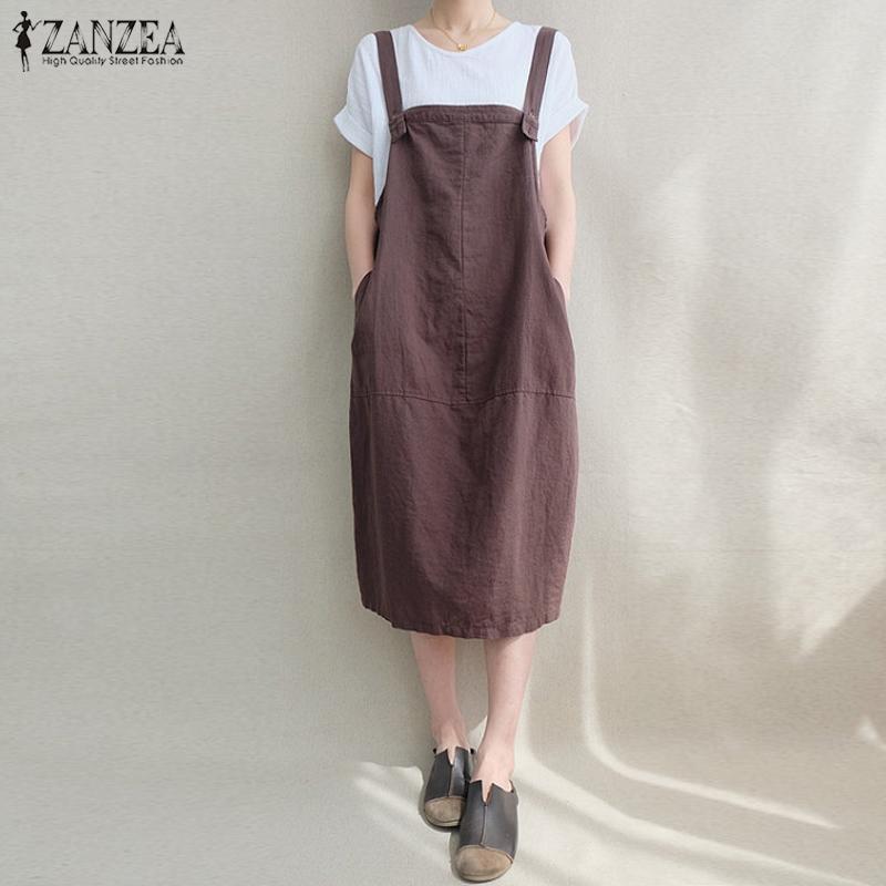 cfde2ee320a 2019 Zanzea 2018 Women Kaftan Dress Sleeveless Bib Solid Cotton Linen  Suspenders Vestido Vintage Casual Loose Pockets Overalls Dress Y19012201  From Jinmei01 ...