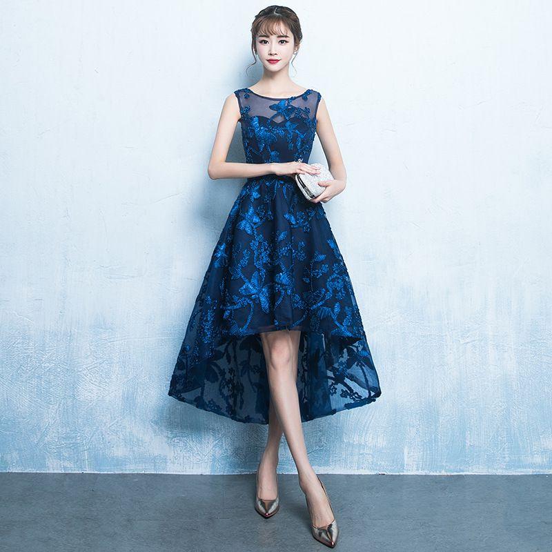 c469af45d3c1 Simple Cap Sleeves Short Prom Dresses Blue Lace Dresses 2019 Cheap New  Elegant Celebrity Dresses Hi Lo Formal Evening Gowns Prom Dress Designs  Prom Dress ...
