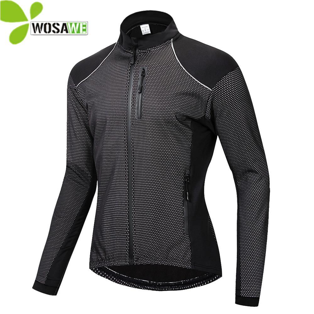 WOSAWE Winter Dünne Thermo Fleece Radjacke Männer Warme MTB Fahrradbekleidung Sportbekleidung Windjacke Wasserabweisend Sport Mantel