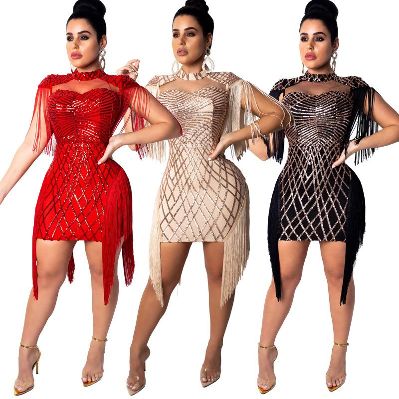 3b6d7acffe83f free shipping 888 Hot women's fashion sexy sequins dress night club beads  Rhinestone dress